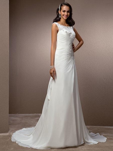 Sheath \ Column Wedding Dresses Bateau Neck Court Train Chiffon Cap Sleeve_2