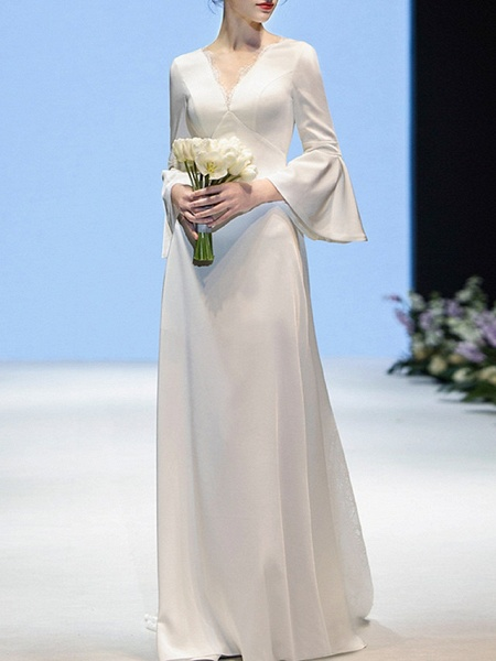 Sheath \ Column Wedding Dresses V Neck Sweep \ Brush Train Chiffon Long Sleeve Casual Beach_1