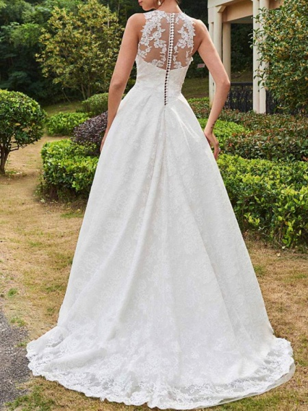 A-Line Wedding Dresses Jewel Neck Sweep \ Brush Train Lace Tulle Sleeveless Formal Sexy See-Through_2