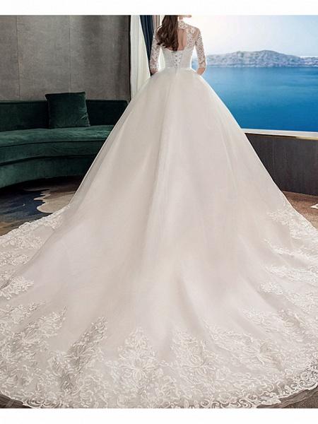 A-Line Wedding Dresses Jewel Neck Sweep \ Brush Train Lace Half Sleeve Casual Plus Size Illusion Sleeve_3