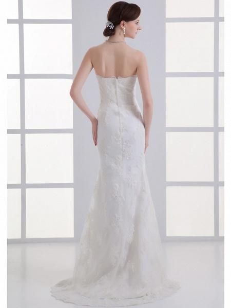 Mermaid \ Trumpet Strapless Court Train Lace Satin Tulle Strapless Wedding Dresses_3