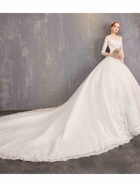 Ball Gown Wedding Dresses Jewel Neck Chapel Train Tulle Lace Over Satin Half Sleeve Illusion Sleeve_3