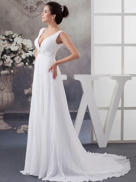 A-Line Wedding Dresses V Neck Chapel Train Chiffon Satin Regular Straps_3