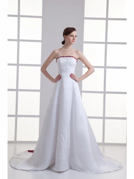 A-Line Strapless Chapel Train Satin Strapless Wedding Dress in Color Wedding Dresses_1