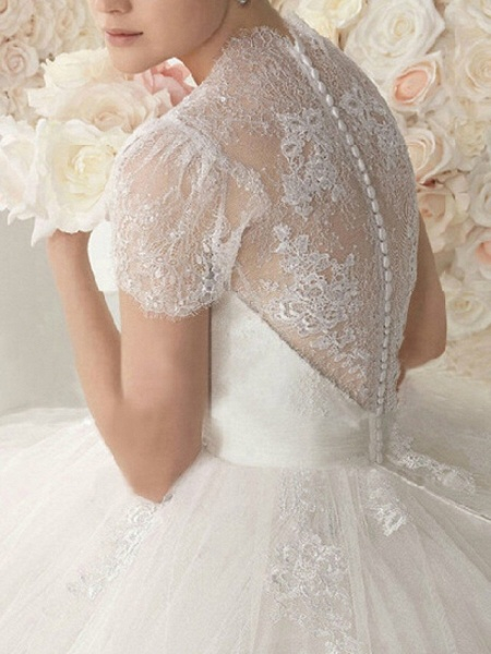 A-Line Wedding Dresses V Neck Sweep \ Brush Train Lace Cap Sleeve Beach_3