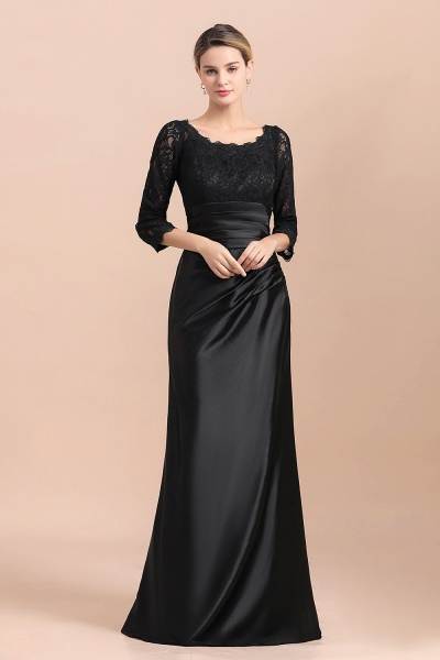 Elegant 3/4 Sleeves Black Satin Lace Ruffles Mother of Bride Dress