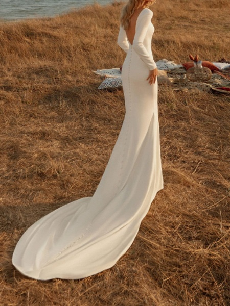 Mermaid \ Trumpet Wedding Dresses Off Shoulder Court Train Chiffon Over Satin Long Sleeve Country Plus Size_1