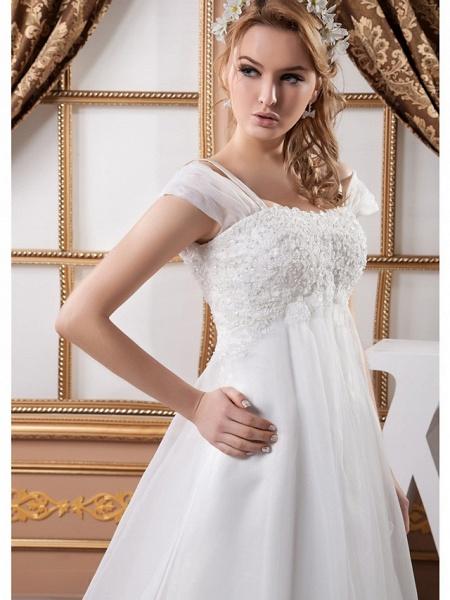 A-Line Square Neck Court Train Lace Organza Satin Cap Sleeve Formal Vintage Illusion Detail Plus Size Wedding Dresses_4