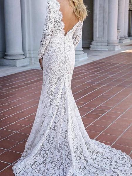 Mermaid \ Trumpet V Neck Sweep \ Brush Train Lace Long Sleeve Country Plus Size Wedding Dresses_3