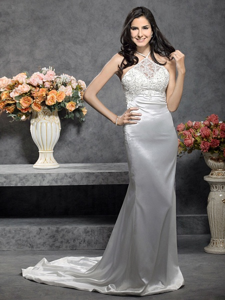 Mermaid \ Trumpet Wedding Dresses Halter Neck Court Train Stretch Satin Sleeveless_1