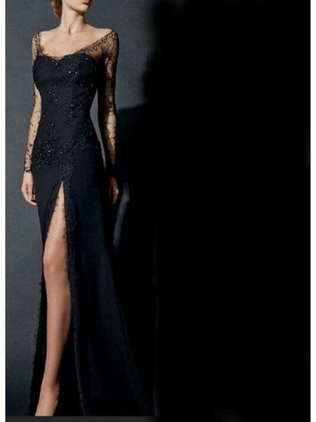 Mermaid \ Trumpet Wedding Dresses V Neck Sweep \ Brush Train Lace Tulle Long Sleeve Formal Black Modern Illusion Sleeve_3