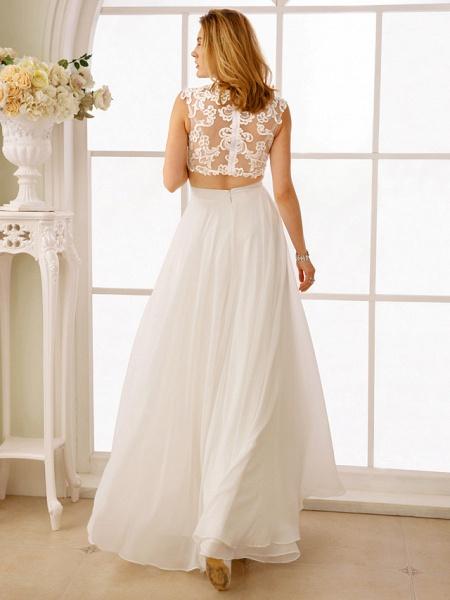 Princess Two Piece Wedding Dresses Jewel Neck Floor Length Chiffon Sleeveless See-Through Beautiful Back Crop Top_2