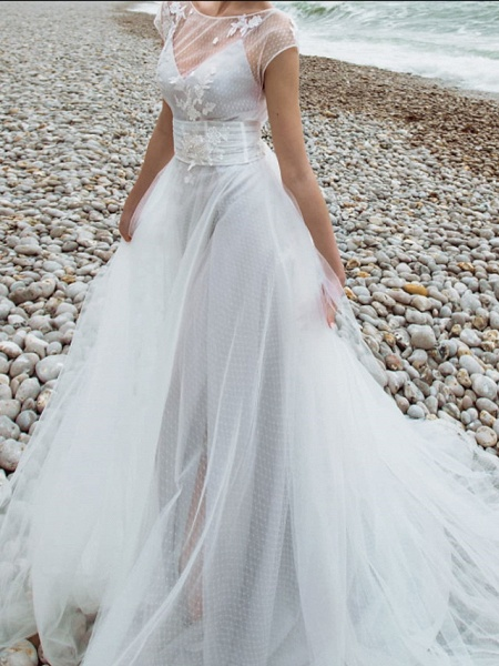 Two Piece A-Line Wedding Dresses Jewel Neck Sweep \ Brush Train Tulle Chiffon Over Satin Short Sleeve Country Plus Size_3