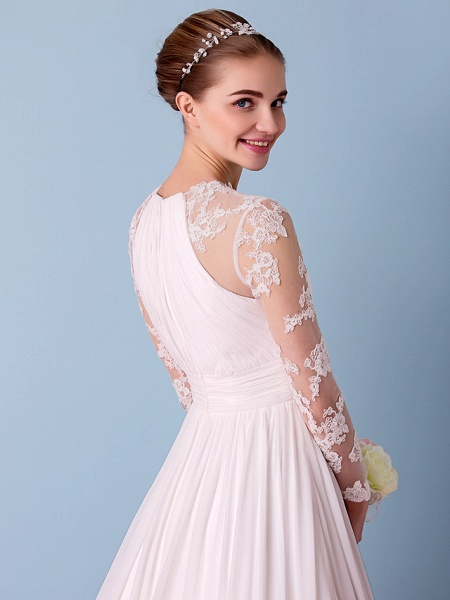 A-Line Jewel Neck Sweep \ Brush Train Chiffon Sheer Lace Long Sleeve Simple Boho Little White Dress See-Through Illusion Sleeve Wedding Dresses_9