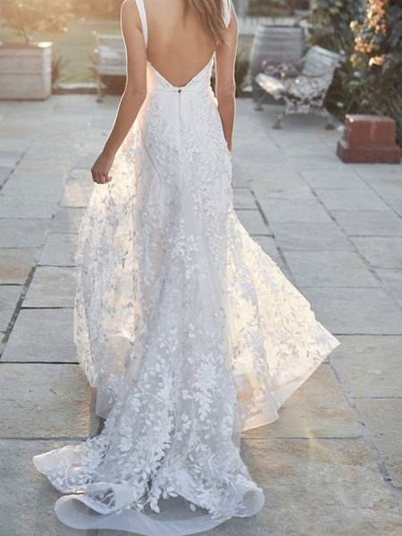 A-Line V Neck Court Train Tulle Sleeveless Country Wedding Dress in Color Wedding Dresses_3