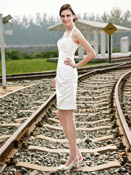 Sheath \ Column Wedding Dresses Halter Neck Short \ Mini Satin Regular Straps Little White Dress_5