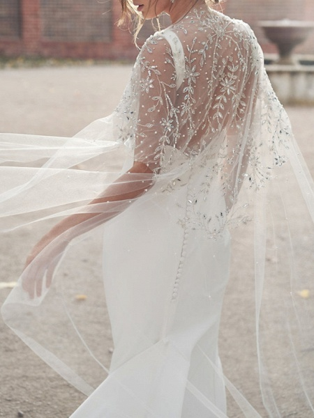 Sheath \ Column Wedding Dresses V Neck Chapel Train Tulle Sleeveless Country Sexy Wedding Dress in Color See-Through_5