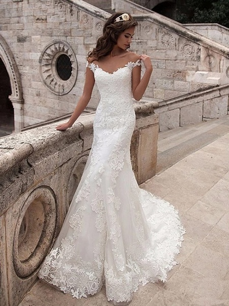 Mermaid \ Trumpet Wedding Dresses Off Shoulder Court Train Lace Tulle Lace Over Satin Short Sleeve Illusion Detail Backless_1