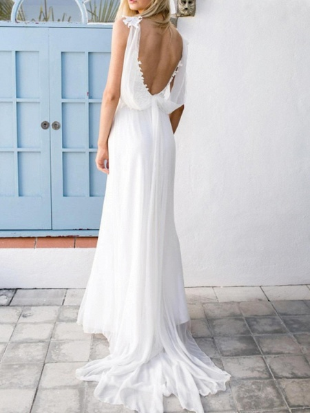 A-Line Wedding Dresses V Neck Spaghetti Strap Sweep \ Brush Train Chiffon Lace Sleeveless Vintage Sexy Wedding Dress in Color Backless_2