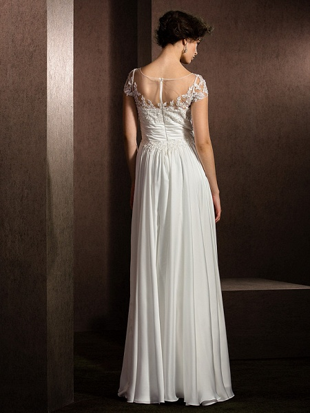 A-Line Wedding Dresses Scoop Neck Floor Length Satin Chiffon Short Sleeve Casual Plus Size_9