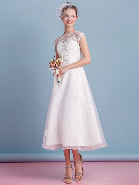 A-Line Wedding Dresses Bateau Neck Tea Length Organza Cap Sleeve Simple Casual Illusion Detail_10