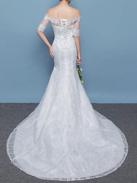 Mermaid \ Trumpet Wedding Dresses Off Shoulder Floor Length Lace Tulle Sleeveless Formal Plus Size_4