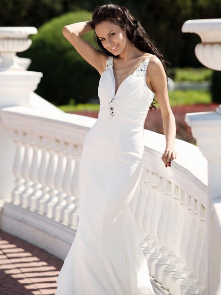 Mermaid \ Trumpet Wedding Dresses V Neck Spaghetti Strap Court Train Chiffon Satin Sleeveless_4