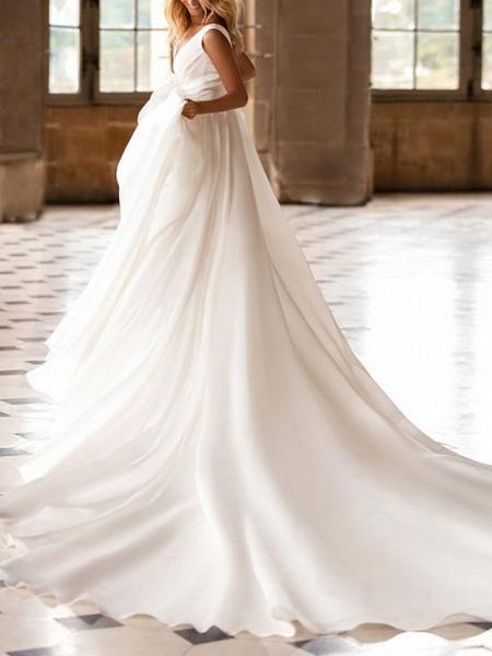 A-Line Wedding Dresses V Neck Court Train Satin Regular Straps Plus Size_2