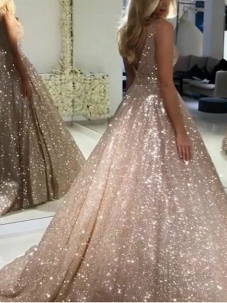 Ball Gown Luxurious Sparkle Quinceanera Prom Dress V Neck Sleeveless Sweep \ Brush Train Sequined_2