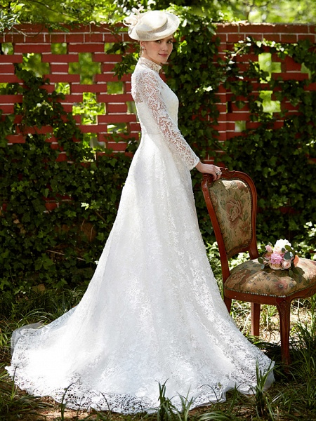 A-Line Wedding Dresses Illusion Neck Court Train All Over Lace Long Sleeve Floral Lace_3