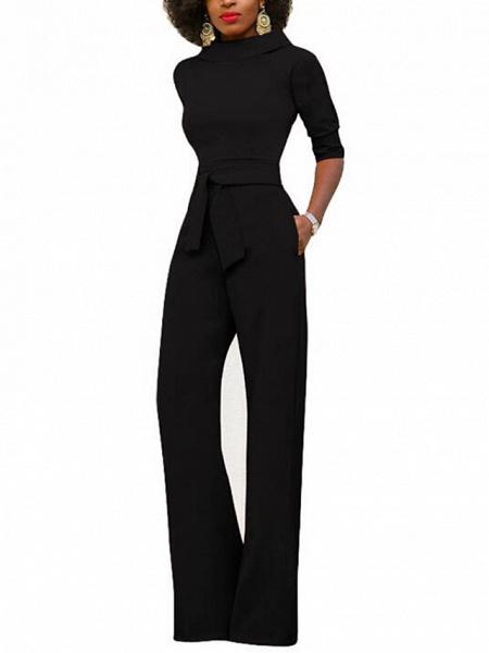 Women's Wide Leg Daily \ Weekend Turtleneck Wine White Black Wide Leg Slim Jumpsuit_6