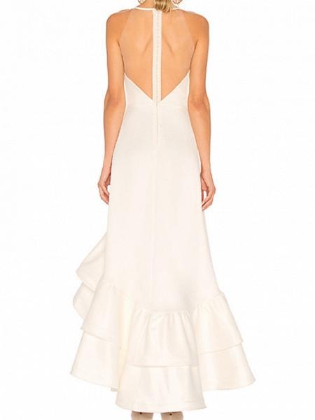 A-Line Wedding Dresses Jewel Neck Ankle Length Satin Tulle Regular Straps_2