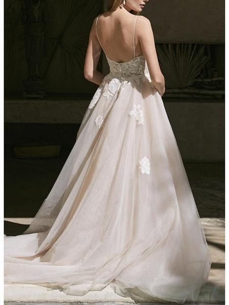 A-Line Wedding Dresses V Neck Sweep \ Brush Train Lace Tulle Spaghetti Strap Boho Plus Size_2