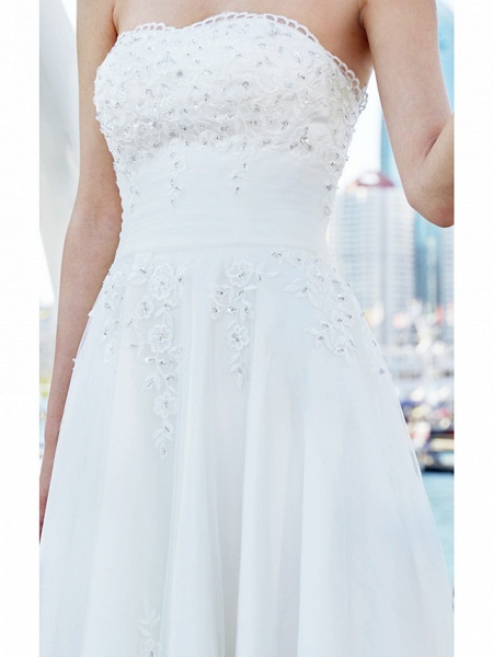 A-Line Wedding Dresses Strapless Asymmetrical Tulle Strapless Casual Beach Little White Dress Backless_13