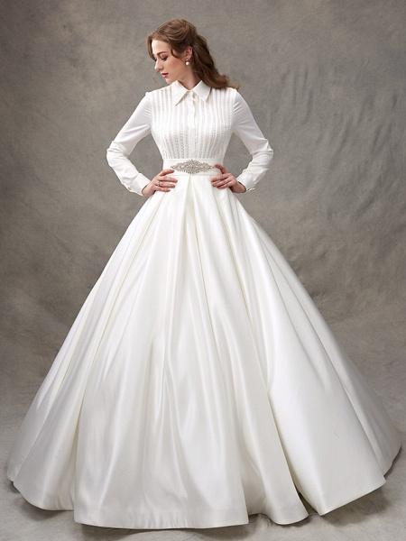 Ball Gown Wedding Dresses High Neck Sweep \ Brush Train Satin Long Sleeve Glamorous Sparkle & Shine_6