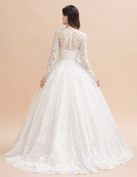 Long Sleeve Lace Crystal Beads Sheer Tulle Wedding Dress_4