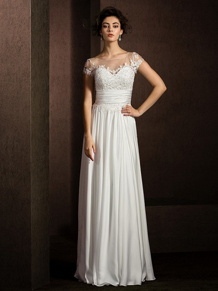 A-Line Wedding Dresses Scoop Neck Floor Length Satin Chiffon Short Sleeve Casual Plus Size_2