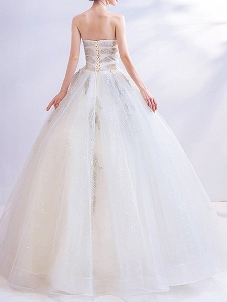 A-Line Wedding Dresses Strapless Sweep \ Brush Train Chiffon Tulle Strapless Formal Illusion Detail Plus Size_3