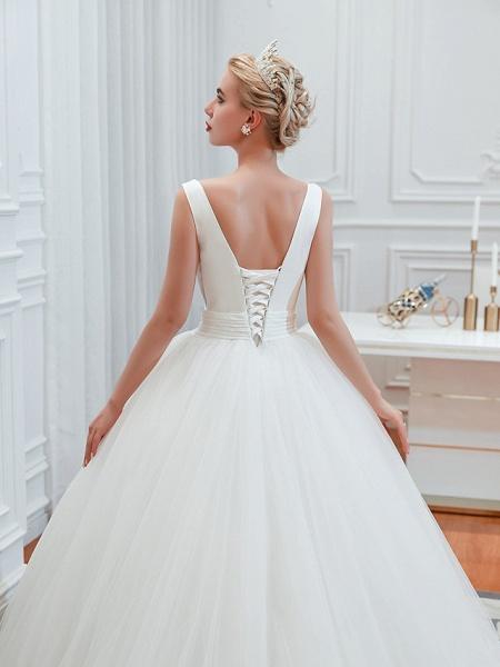 Ball Gown Wedding Dresses V Neck Court Train Tulle Regular Straps Simple Glamorous Backless_6