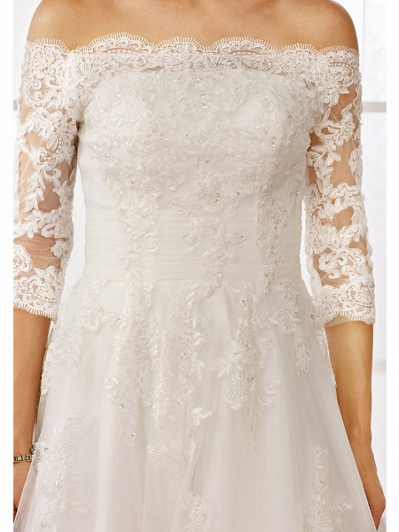 A-Line Off Shoulder Floor Length Lace Tulle Lace Over Tulle 3\4 Length Sleeve Floral Lace Illusion Sleeve Wedding Dresses_8