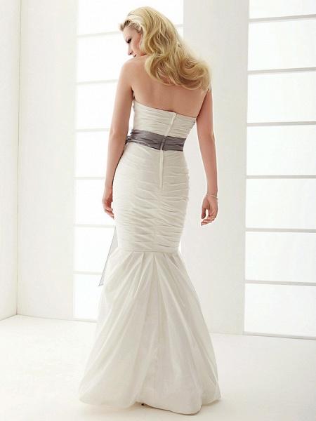 Mermaid \ Trumpet Wedding Dresses Strapless Floor Length Taffeta Sleeveless Wedding Dress in Color_9