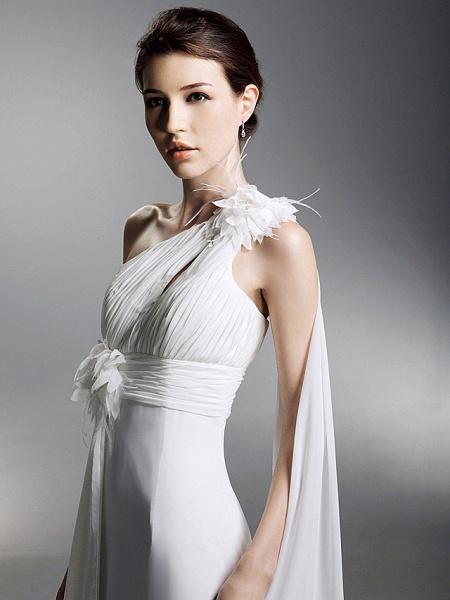 Sheath \ Column Wedding Dresses One Shoulder Watteau Train Chiffon Sleeveless_6