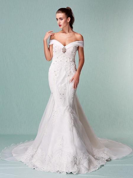 Mermaid \ Trumpet Wedding Dresses Off Shoulder Chapel Train Organza Short Sleeve_3