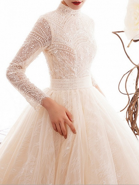 A-Line Wedding Dresses High Neck Court Train Lace Long Sleeve Country Illusion Sleeve_4
