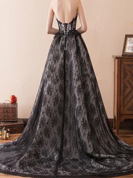 A-Line Strapless Sweep \ Brush Train Tulle Strapless Formal Black Modern Wedding Dresses_2