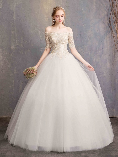 Ball Gown Wedding Dresses Off Shoulder Floor Length Tulle Lace Over Satin Half Sleeve Glamorous Illusion Detail_2