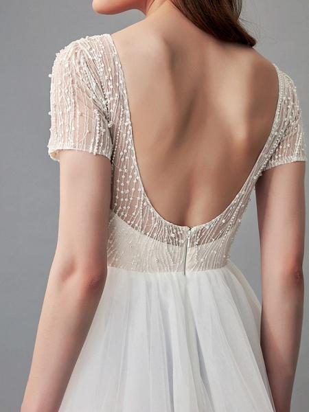 A-Line Wedding Dresses Jewel Neck Sweep \ Brush Train Lace Satin Tulle Short Sleeve 3\4 Length Sleeve Sexy_10