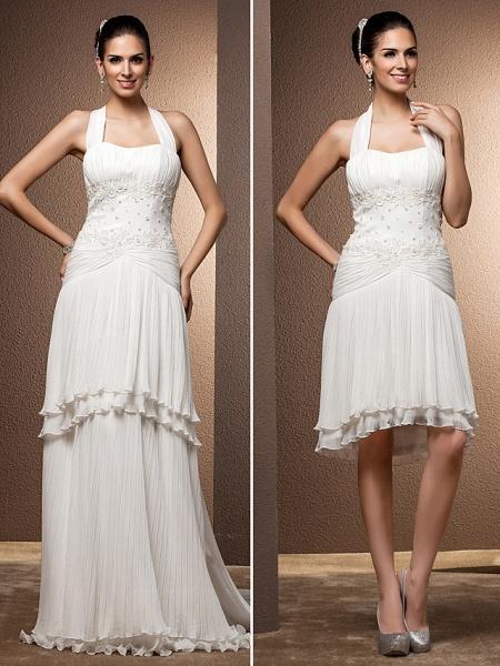 Sheath \ Column Wedding Dresses Halter Neck Floor Length Chiffon Sleeveless_5