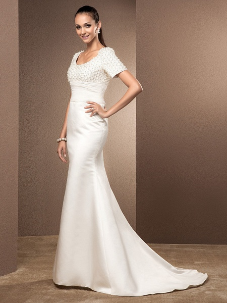 Mermaid \ Trumpet Wedding Dresses Scoop Neck Court Train Lace Satin Short Sleeve_7
