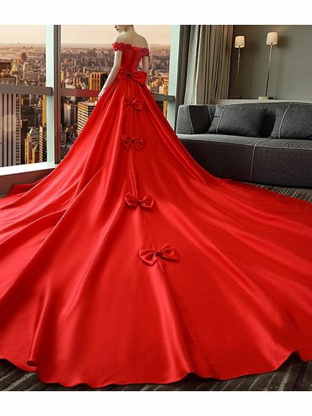 A-Line Wedding Dresses Off Shoulder Court Train Satin Short Sleeve Romantic Plus Size Red_4
